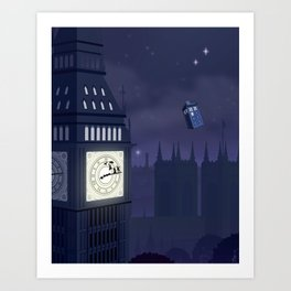 Second Star to the Right, Straight on to Gallifrey Art Print