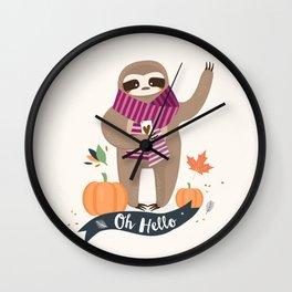 Comfy Sloth for the Fall & Pumpkin Wall Clock