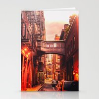 new york city Stationery Cards featuring New York City Alley by Vivienne Gucwa