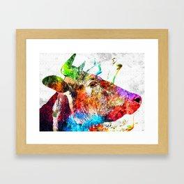 Cow Profile Watercolor Grunge Framed Art Print
