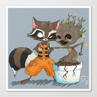 rocket raccoon Canvas Prints featuring Rocket Raccoon & Baby Groot by Whimsette
