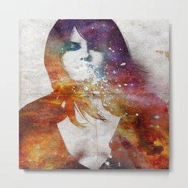 Girl spitting into space. Metal Print