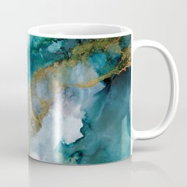 Wild Rush - abstract ocean theme in teal gray gold, marble pattern Coffee Mug