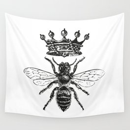 Queen Bee No. 1   Vintage Bee with Crown   Black and White   Wall Tapestry