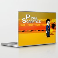 scarface Laptop & iPad Skins featuring Pixel Scarface by Rapsmyinitials