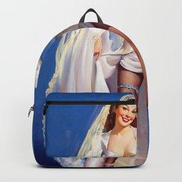 Vintage Pin Up Poster - something borrowed something blue Backpack
