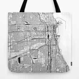 Chicago White Map Tote Bag