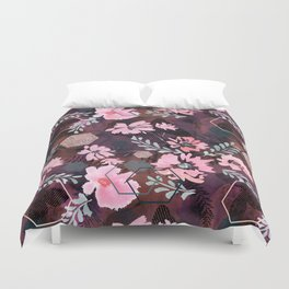 Pink flowers on an abstract cherry background. Duvet Cover