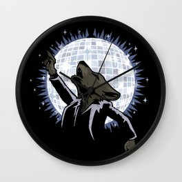 Howling at the Disco Moon Wall Clock