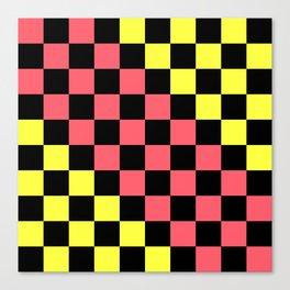 Black, Pink, & Yellow Checkerboard Pattern Canvas Print