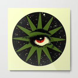 Red and Green All Seeing Cosmic Eye Metal Print