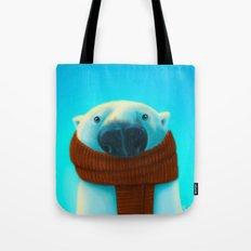 Polar bear with scarf Tote Bag