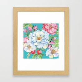 Elegant, Chic Floral Print on Eggshell Blue Framed Art Print