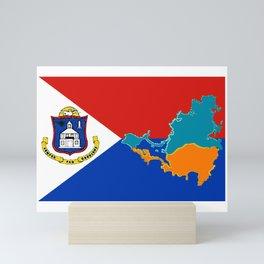 Saint Martin Flag with Map Mini Art Print