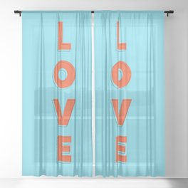 Love is all - typography Sheer Curtain