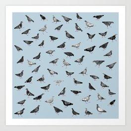Pigeons Doing Pigeon Things Art Print