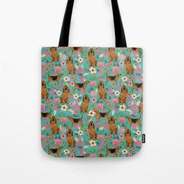 Bloodhound floral dog breed dog pattern pet friendly pet portraits custom dog gifts mint Tote Bag
