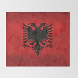 National flag of Albania with Vintage textures Throw Blanket