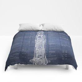 Apollo 11 Saturn V Blueprint in High Resolution (dark blue) Comforters