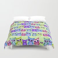 owls Duvet Covers featuring Owls by DMiller