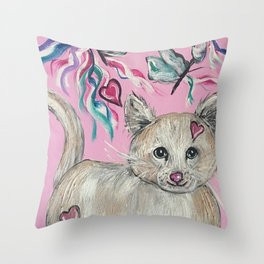 Kitty Cat with Butterflies Throw Pillow