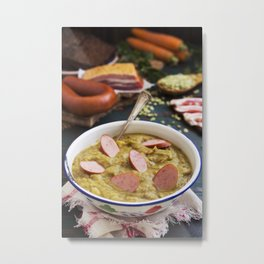 I - Traditional Dutch pea soup and ingredients on a rustic table Metal Print