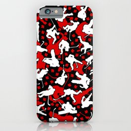 Ice Hockey Player Canada Flag Camo Camouflage Pattern iPhone Case