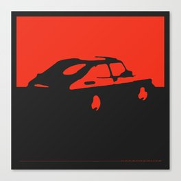 Saab 900 classic, Red on Black Canvas Print