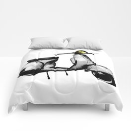 White Vespa Scooter Comforters