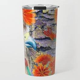 Baby Hawk with orange flowers Travel Mug