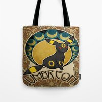 umbreon Tote Bags featuring Umbreon by Yamilett Pimentel