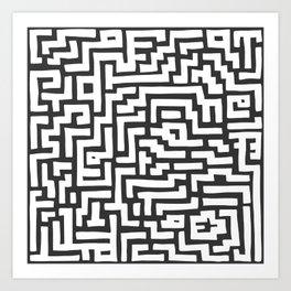 White and Dark Grey Maze Pattern Art Print