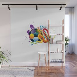 Brush strokes and soccer ball Wall Mural