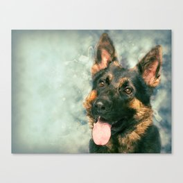Working German Shepherd Dog GSD -  Watercolor Canvas Print