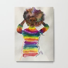 Portrait of a Feminist 3 in Watercolor and Ink and Mixed Media by Imaginarium Arts Metal Print