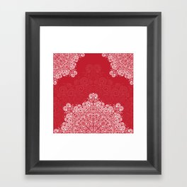 Red background with white love mandala Framed Art Print