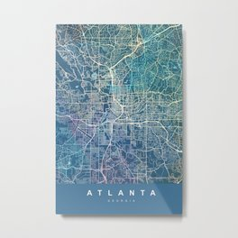 ATLANTA Map Georgia | blue | More Colors, Review My Collections Metal Print