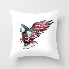 Watercolor bald eagle symbol of the United States Throw Pillow