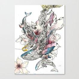 Trio Whales Canvas Print