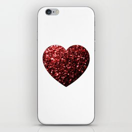 Red Glitter sparkles Heart on white iPhone Skin