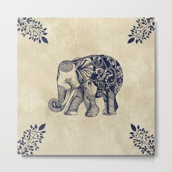 Simple Elephant Metal Print