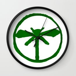 Green Dragonfly Logo T-Shirt Wall Clock