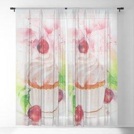 Cupcake Art Sheer Curtain