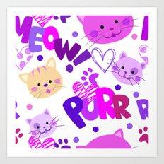 Cute Cats Pattern Art Print