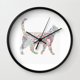 Rainbow neon Cat Wall Clock