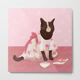 Black and White Kitty Wearing a Kimono Eating Sushi and Rice - Blush Pink Metal Print
