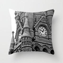 B&W Clock Tower Throw Pillow