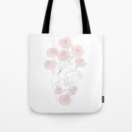 Heart anatomy with pink roses Tote Bag