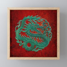 Wooden Jade Dragon Carving on Red Background Framed Mini Art Print