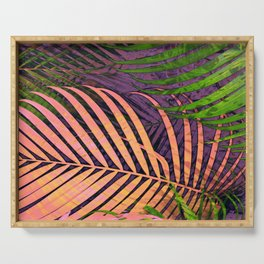 TROPICAL COLORFUL POPPY LEAVES Serving Tray